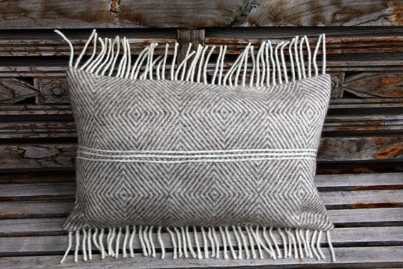 """Real Pure White- Light beige Wool Lumbar pillow cover with fringe, fits12""""x20"""" insert. - svetastyle"""