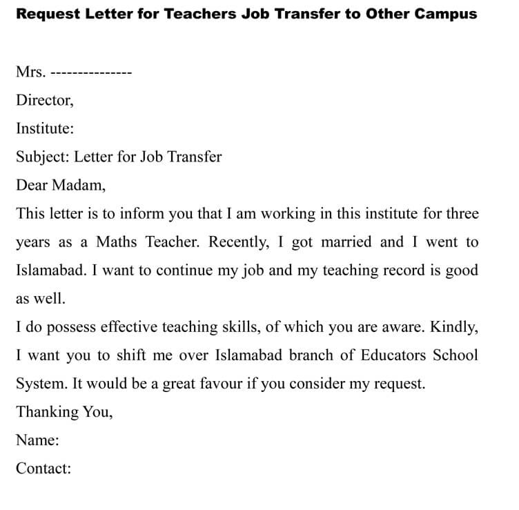 20 Transfer Request Letter And Transfer Offer Letter Samples