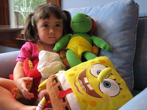 Watching TV with Spongebob