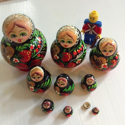 My favorite matryoshka dolls because they are so small.  One of the kids dropped the very smallest on carpet and we never found it.  Lego man to show scale