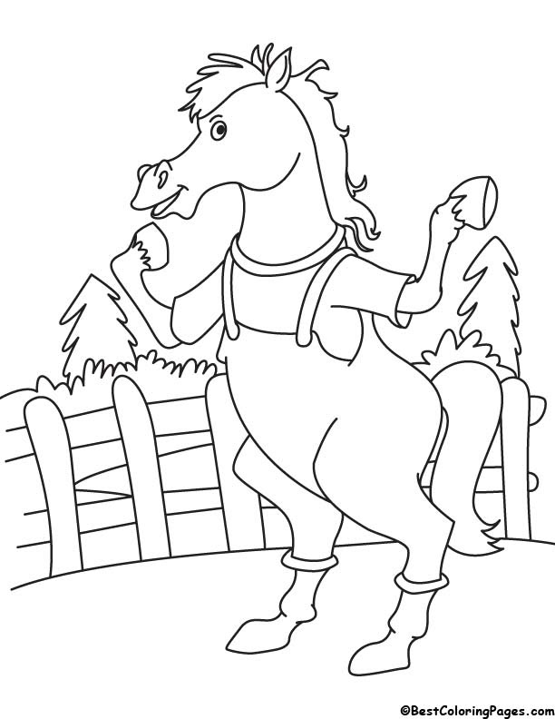 Horse in farm coloring page | Download Free Horse in farm ...