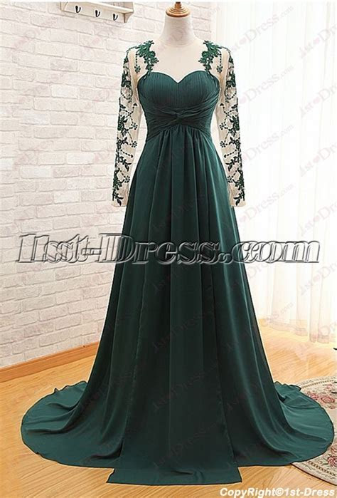 Modest Hunter Green Long Sleeves Evening Gown 2016:1st