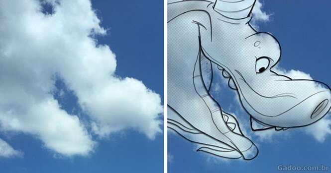 Artista se baseia nas nuvens para criar personagens variados