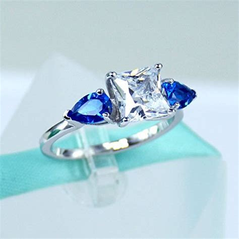 2Carat Princess Cut Simulated Diamond, Blue Pear Sapphire