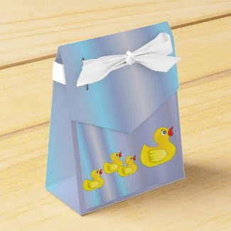 Rubber Duck Family on Blue Favor Box