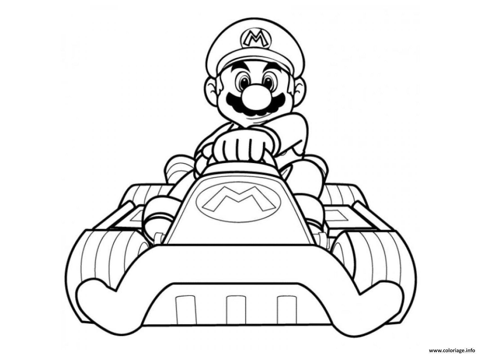 Coloriage Mario Kart Wii Avec Sa Voiture Dessin  Imprimer