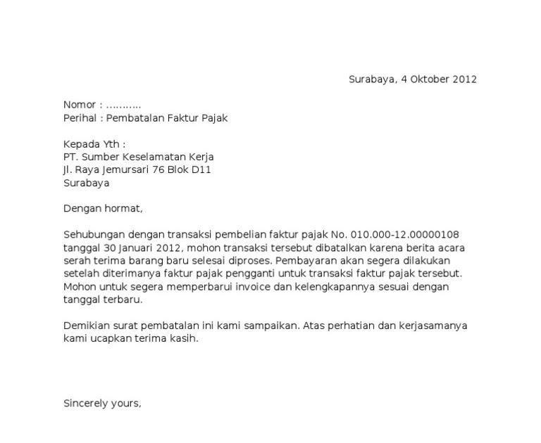 Contoh Surat Pemberitahuan Pembatalan Faktur Pajak Ke Kpp Home