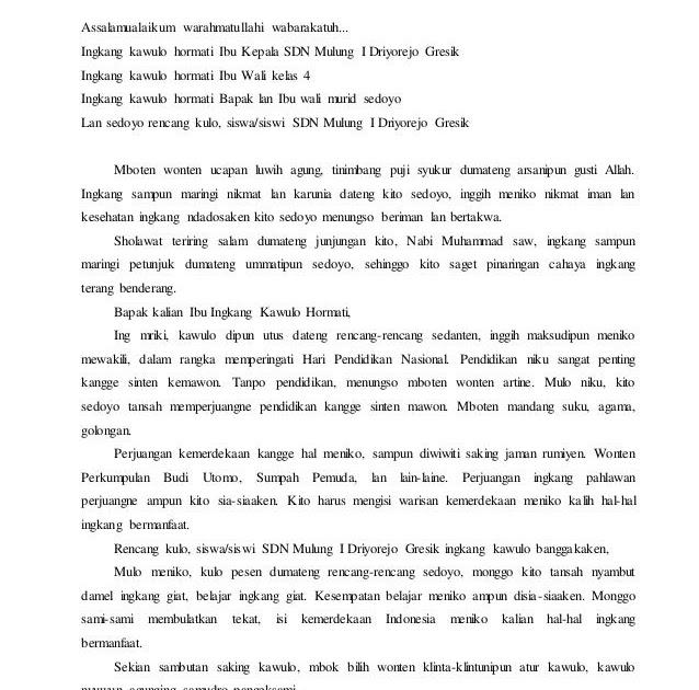 Contoh Pidato Perpisahan Bahasa Jawa - Contoh Ici