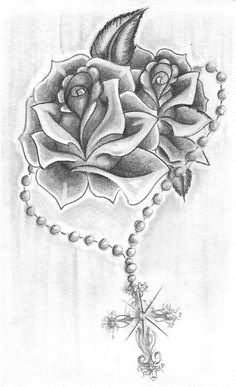 Rosary Cross With Roses Tattoo Design