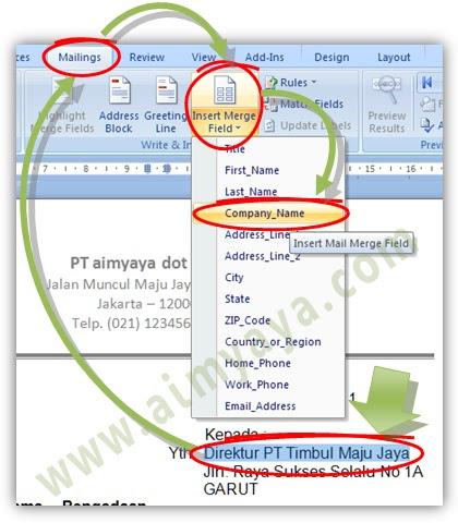 Gambar: Menyisipkan field yang digunakan dalam mail merge di microsoft Word