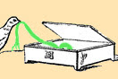 [image ALT: An engraving of a bird rummaging in a small rectangular box and pulling out a ribbon. It is an illustration of an ancient Graeco-Roman pyxis.]