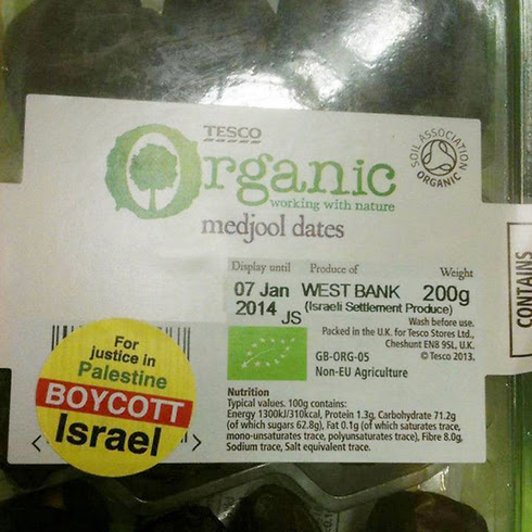 Settlement-made products marked in Ireland supermarket.