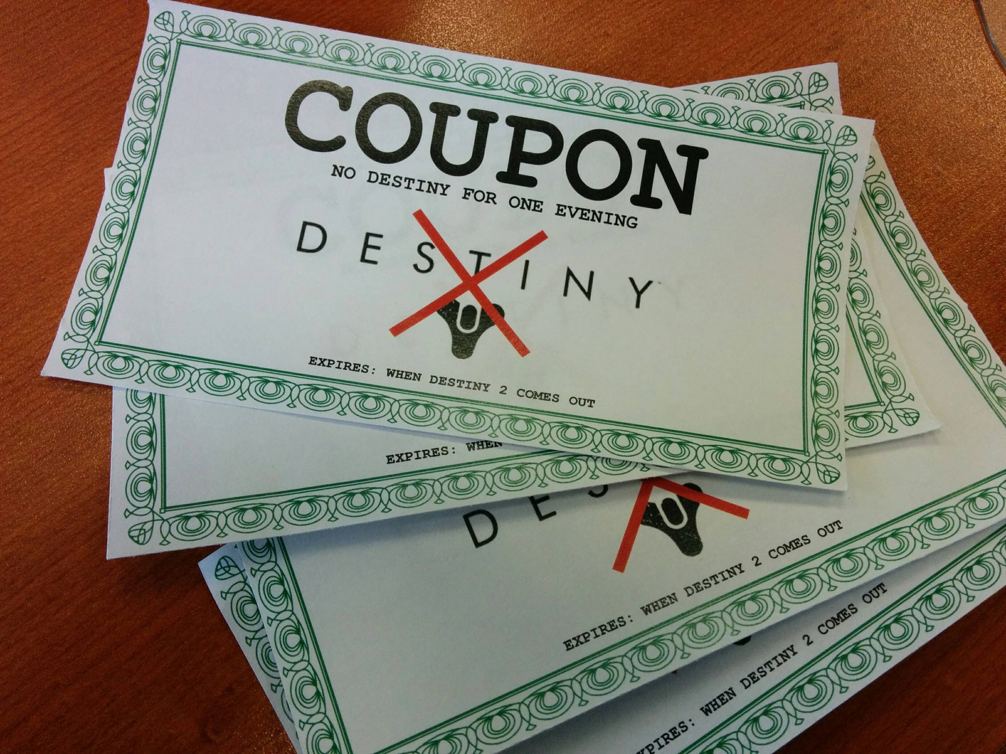 Destiny Coupons For The Wife For Christmas Or Birthdays