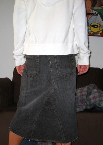 Converted jean skirt back