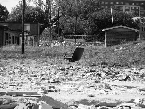 chair amid the rubble