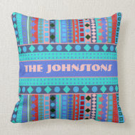 Purple and Aqua Tribal Beat Zigzag Stripes Pattern Throw Pillow