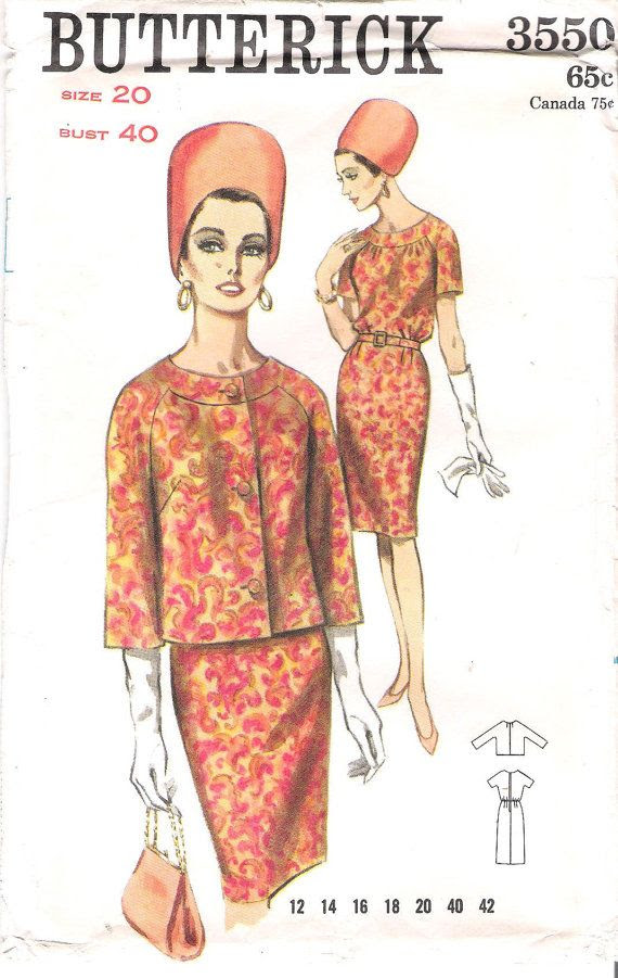 Vintage 1960's Butterick 3550 Wiggle Dress and Jacket with Three-Quarter Sleeves Sewing Pattern, offered on Etsy by GrandmaMadeWithLove
