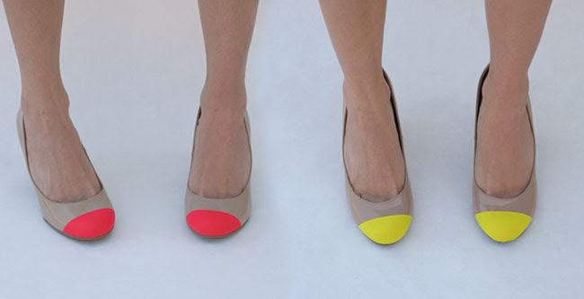 pink and yellow neon shoes DIY