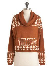 Longhorn Fashions Burnt Orange Sweater Aztec Design