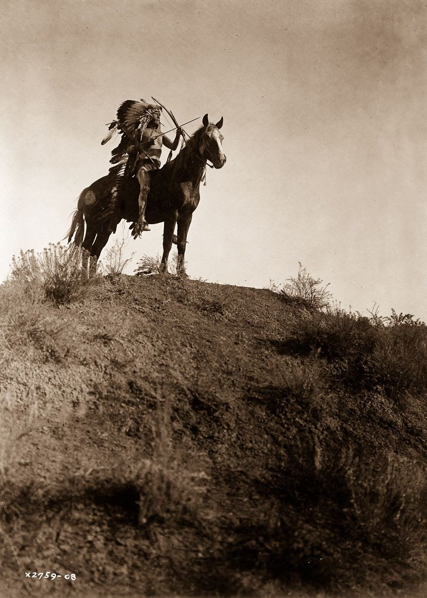 An Apsaroke man on horseback, 1908