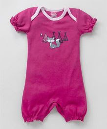 Babyhug Half Sleeves Cotton Romper Fox Print - Fuchsia
