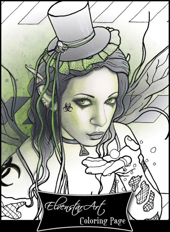 Items similar to Coloring Page PRINTABLE Gothic Fairy ...