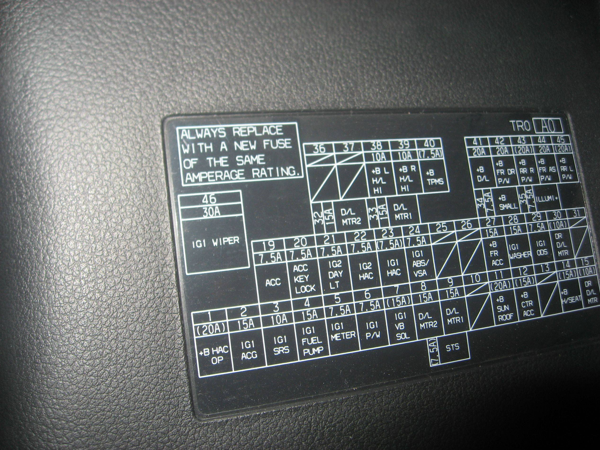 Fuse List And Box Cover Picture 9th Gen Civic Forum