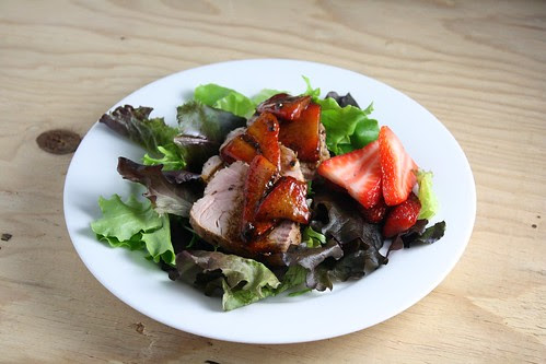 Pork Tenderloin Salad with Warm Strawberry Dressing