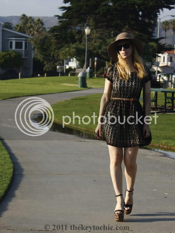 Forever 21 lace dress, Steve Madden Shazzam leopard heels, scalloped floppy hat, California fashion blog