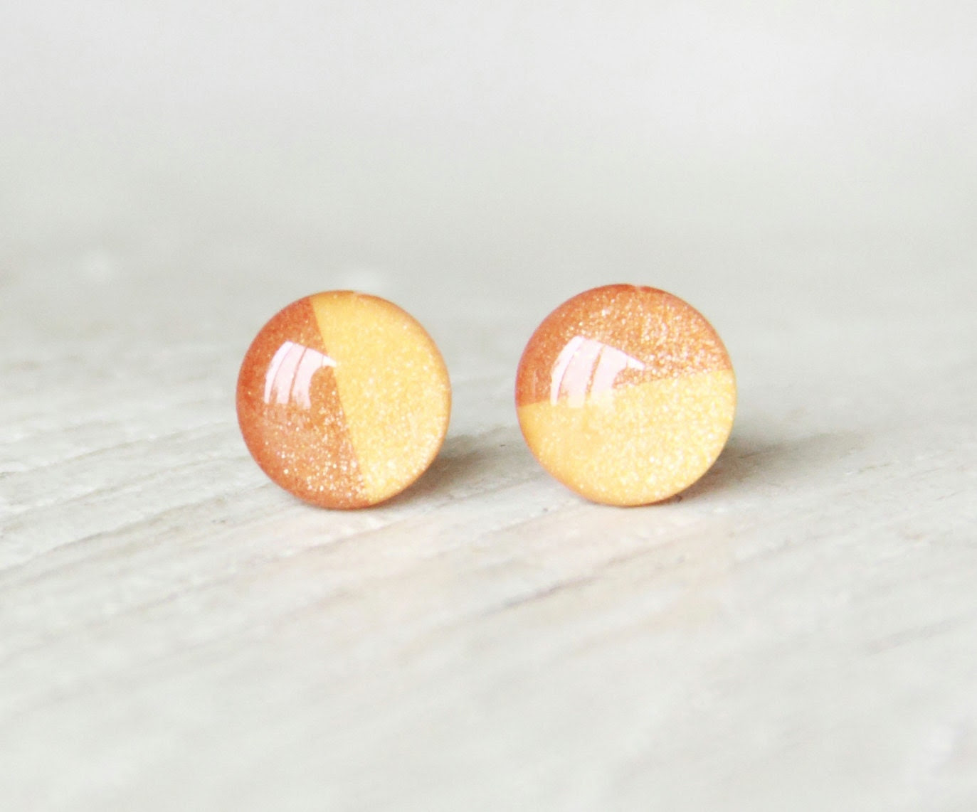 PUMPKIN PIE - Orange Earrings - Stud Earrings - Small Earrings - Fall Fashion - Thanks Giving - Big Earrings - Two Tone Studs By Ear Sugar
