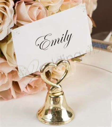 Wedding Kissing Bell Place Card Holders Gold x 20