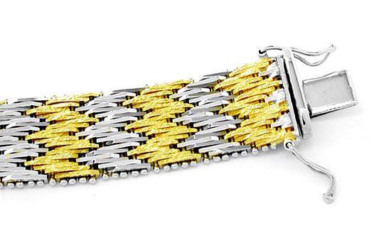 Foto 2, Traumarbeit Bicolor-Armband massiv 18K/750 Luxus! Neuw., K2842