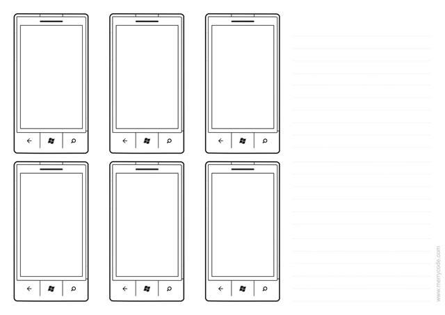 Windows Phone 7 plantillas Sketch