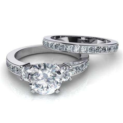 3 Stone Engagement Ring & Wedding Band Bridal Set Natalie