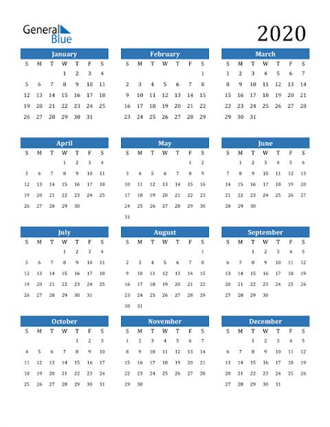 Printable 2020 Calendar Singapore Excel