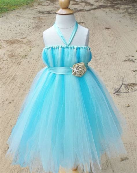 Beach wedding flower girl dress, aqua flower girl dress