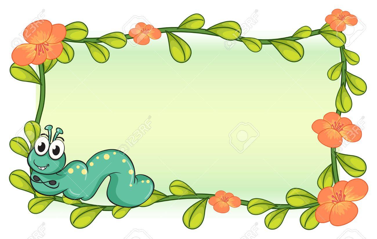 caterpillar on flower clipart 11