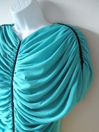 vintage turquoise blue drape top