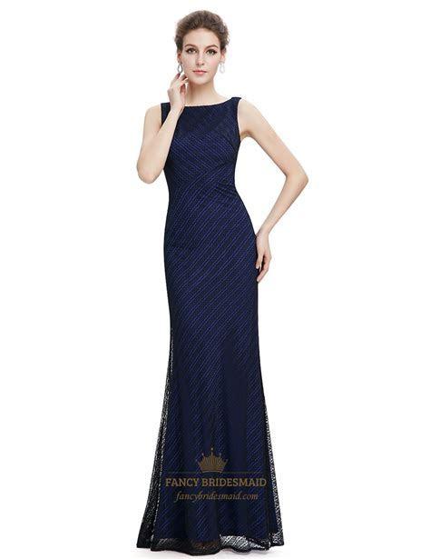Navy Blue Lace Mermaid Long Bridesmaid Dress   Fancy