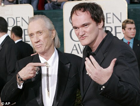 David Carradine with Kill Bill director Quentin Tarantino at the Golden Globe Awards in 2005, after Tarantino made Carradine a legend for millions of fans too young to have seen 'Kung Fu'