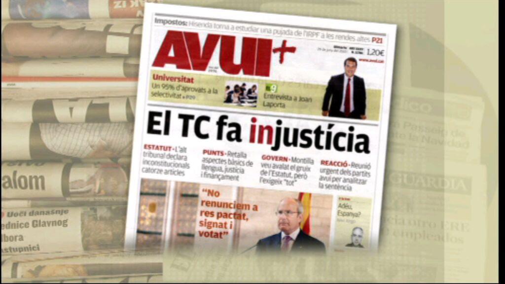 """De la seva banda, l'""""Avui"""" ho qualifica tot plegat d'""""injustícia"""" a la seva portada. (Font: kiosko.net)"""