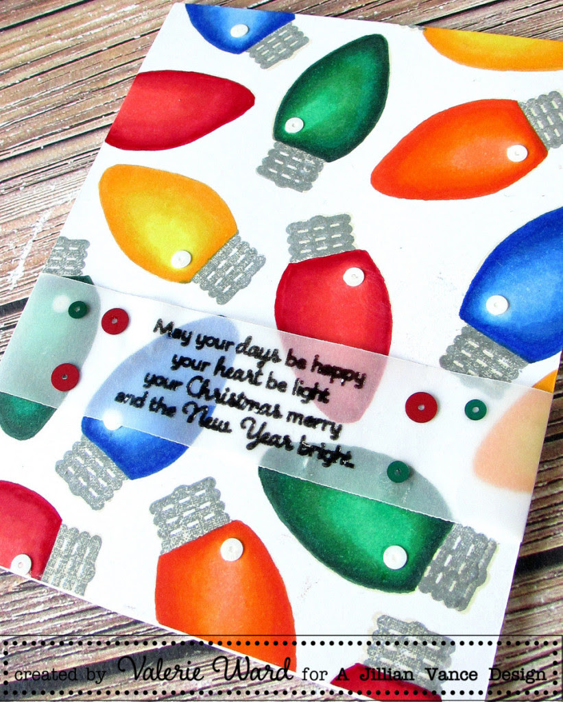 A Jillian Vance Design stamps & sequins, Copics {ValByDesign, 2015}