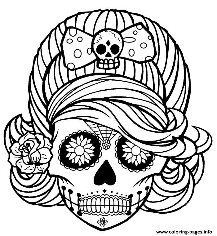 Girl Skull Cute Adult Coloring Pages Printable