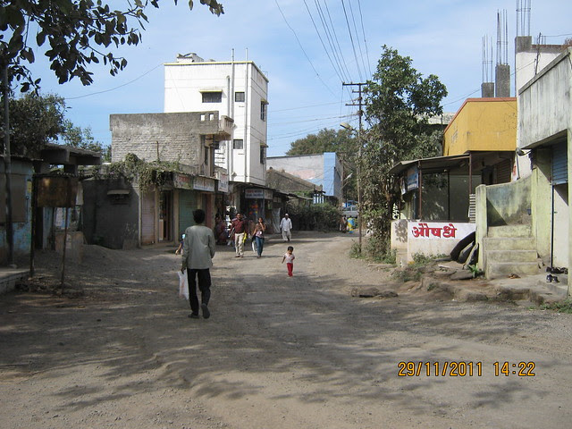 View of the pakka road to Sinhagad Road from the Temples at Kirkatwadi
