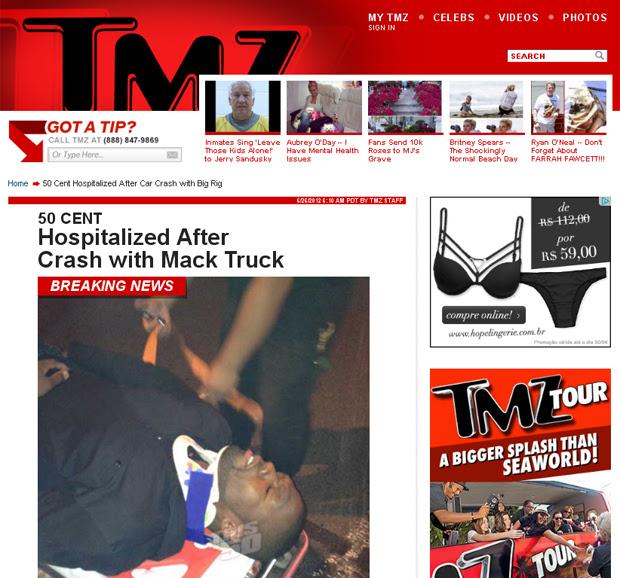 50cent sofre acidente (Foto: TMZ/Reprodução)