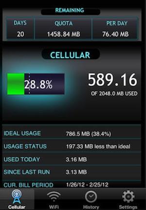 Data Usage permite definir metas de consumo de dados. (Foto: Reprodução)