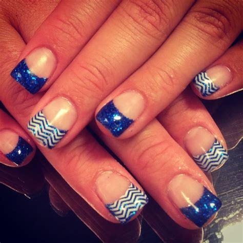 Royal blue nails! Chevron!   Nifty Nails.   Pinterest