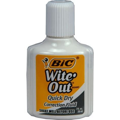 BIC Wite Out WOFQD1 White Quick Dry Correction Fluid