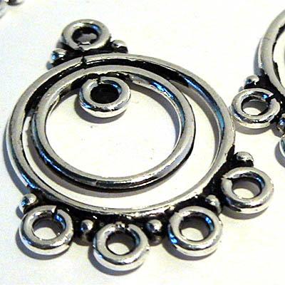 96002458 Sterling Earring Chandeliers -  Double Hoops w Multi-Loops - Sterling (pair)