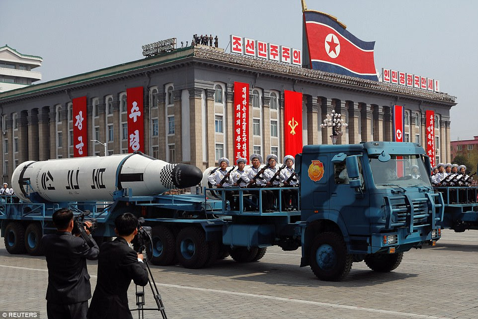 In Saturday's parade celebrating the 105th birthday of North Korean founder Kim Jong-ul, his grandson also unveiled 'game-changing' intercontinental ballistic missiles (ICBM), pictured